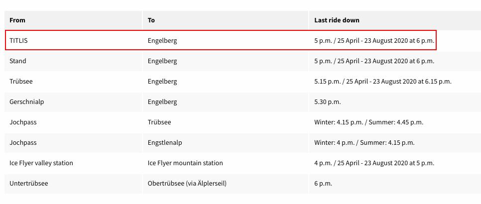 鐵力士山纜車時刻表